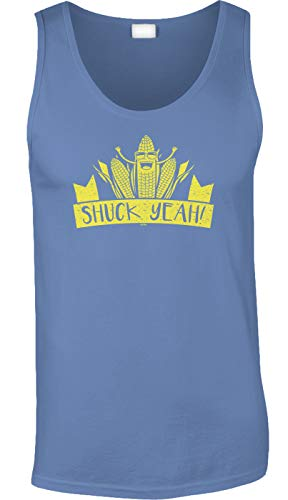 Blittzen Mens Tank Shuck Yeah - Corny Pun - Farm Joke, 2XL, Light Blue -