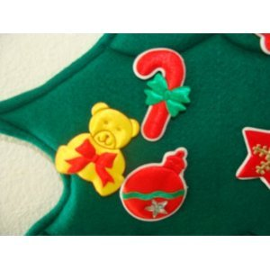 ~ Advent Calendar ~ Child Nativity Scene ~ Thick, Green, Embroidered Felt ~ Giant 3 Feet Long ~ Stuff Pockets with Chocolate