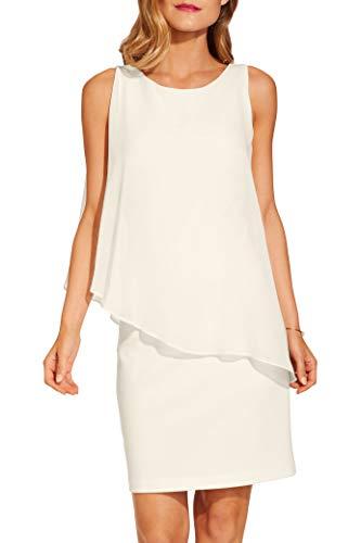Boston Proper Women's Elegant Solid Chiffon Overlay Sleeveless Dress Ivory Coast Large