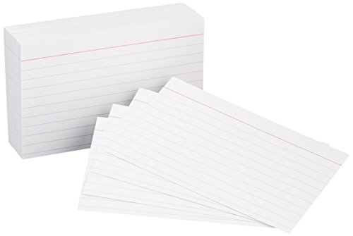AmazonBasics Heavy Weight Ruled Lined Index Cards, White, 3x5 Inch Card, 100-Count - Lined Oxford Uniform