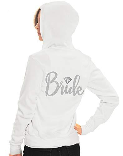 Bride Honeymoon Zip Up Hoody - Bride with Diamond Motif Rhinestone Jacket - Bachelorette Party, Bridal Shower Bride Sweatshirt - Small - White Hood(DiamBrd RS) Wht/Sml ()