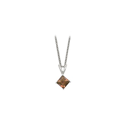 - Square Cut Smoky Quartz Pendant Necklace in Sterling Silver. 1ct.tw.