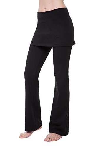 (NIRLON Skirted Yoga Pants Tummy Control Skort Athletic Gathered Skirt Boot Leg Leggings)