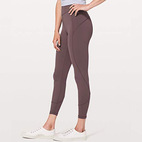 Makeupstory Womens Capri Leggings, Short Sleeve Workout Shirts for Women,Women's High Waist Solid Yoga Pants Workout Running Sports Leggings Pants Coffee by Makeupstory (Image #1)