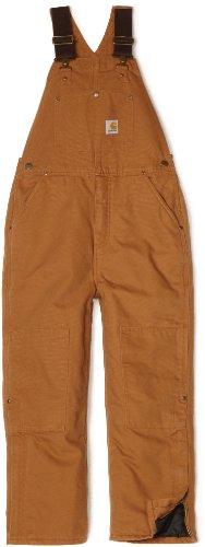 Carhartt Big Boys' Washed Duck Bib Pocket Pant, Carhartt Brown, - Washed Duck Kids Carhartt