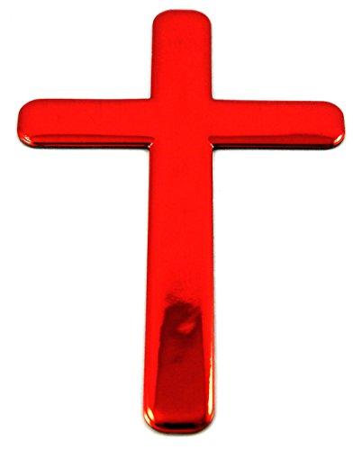 Jesus Cross RED decal emblem 3D sticker car bike auto 2