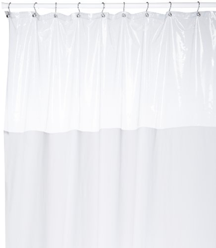 (Carnation Home Fashions 54 by 78-Inch Vinyl Window Shower Curtain, White)