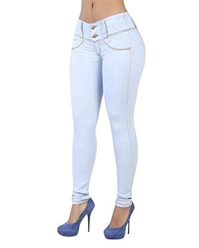 Hellblau Flaco Jeans Casuales Lápiz Mujeres De Delantero Cintura Sólido Color Pantalones Botón Mezclilla Estiramiento Las Battercake Casual Alta 84UwqvT