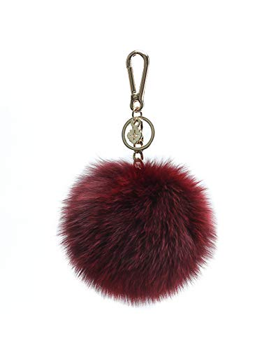 Pom Pom Keychains for Women by Miss Fong,Cute Keychain,Puff Ball Key Chain Women,Bag charms for Handbags Fur Ball in Fox Fur (Wine Red)