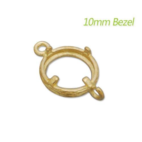 10mm Raw Brass Bezel Settings Pendant Base-20pcs-Jewelry Making Accessories