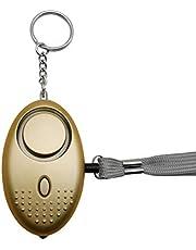 Persoonlijk alarm voor vrouwen, 140 dB, zelfverdedigingsveiligheidsalarm, sleutelhanger, met ledlicht, voor vrouwen, kinderen en ouderen, goud