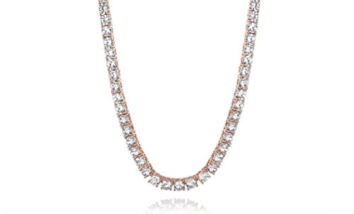 NYC Sterling New Womens Magnificent 4mm Round Cubic Zirconia Tennis Necklace … (Rose-Gold-Plated-Brass)