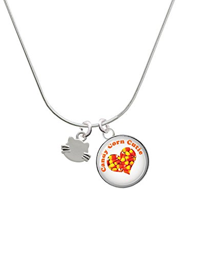 Mini Cat Face with Whiskers - Halloween Candy Corn Cutie Glass Dome Necklace (Halloween Cat Whiskers)