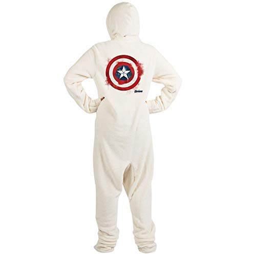 CafePress Captain America Novelty Footed Pajamas, Funny Adult One-Piece PJ Sleepwear Creme