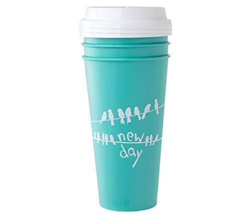 Aladdin Reusable To-Go Cups With Press Fit Lid | New Day | Aqua Bird Design | 20oz | Set of 3