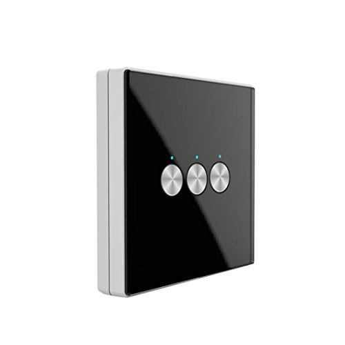 Nacome Wireless Wall Switch Lighting Control,3 x receivers,Remote Operation,Capacitive Glass Wireless Wall Switch (Black) by Nacome (Image #1)