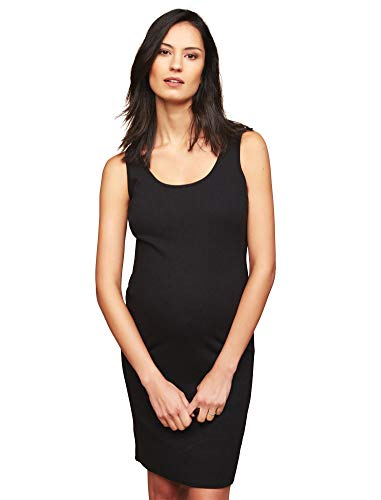 - Motherhood Maternity Women's Maternity Sleeveless Rib Bodycon Tank Dress, Black, Large