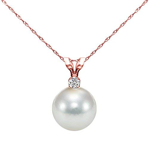 14k Rose Gold 7-7.5mm White Round Freshwater Cultured Pearl Bunny Pendant 1/20cttw Diamond, 18