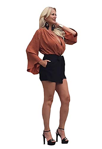 Blaque Label - Blaque Label Bell Sleeve Romper in Ginger & Black (Small)