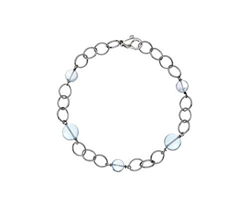 Or 9ct Topaze Bleu Bracelet Blanc Serenity 19,1cm/19cm