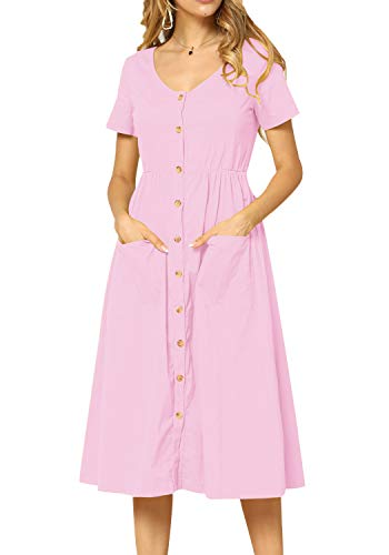 Womens Plain Casual Loose Flowy Pockets Party Midi Modest Dress Pink ()