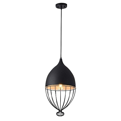 DLINMEI E27 Simple Wrought Iron Chandelier Creative Fish Line Mesh Light Lamp Oval Restaurant Study Black White Pendant Lamp ()