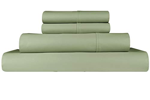 Threadmill Home Linen 300 Thread Count Bedding Collection 100% Long Staple Cotton Solid Sateen Sheet Set, Luxury Bedding, 4 Piece Set, Bed Sheets, Smooth Sateen Weave, Queen, Sage