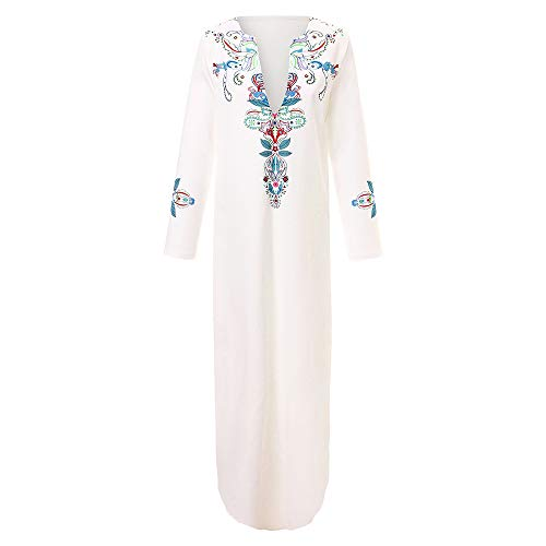 Hem Baggy Tonsee V Kaftan Sexy Manches Robe Maxi Pour 1 Imprimée Longue FemmeFashion Longues Col Blanc À DeHYWE9I2b