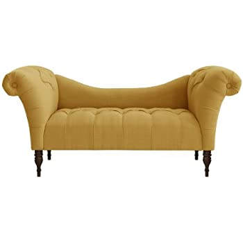 Skyline Furniture Tufted Chaise Lounge in Linen French Yellow  sc 1 st  Amazon.com : skyline chaise lounge - Sectionals, Sofas & Couches