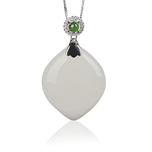 - Mayanyan Natural and Nephrite Pendant Certificate Simple Sterling Silver Peach White Jade Drop Jade Pendant Lady Gift