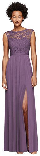 Long Bridesmaid Dress with Lace Bodice Style F19328, Wisteria, 4 -