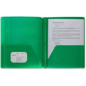 48 PackPoly Plastic Portfolio School Report Covers, 3 Hole Punched with Prongs, 8.5 x 11, Solid Colors, Durable, Spill Resistant/Water Resistant (Green)