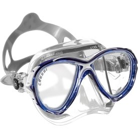 Cressi Eyes Evolution CRYSTAL Two Lens Scuba Diving Silicone Mask (Blue)
