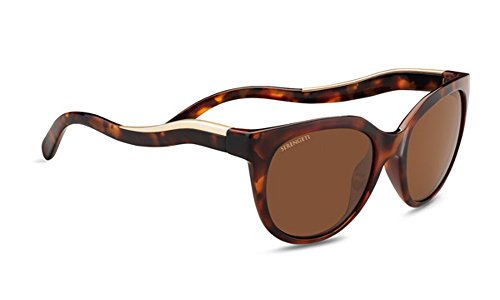 (Serengeti Lia Sunglasses Shiny Red Moss Tortoise Frame/Satin Champagne Gold, Brown)