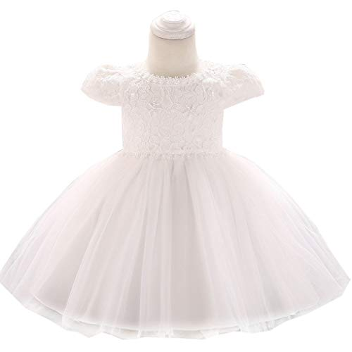 Toddler Baby Girls Beaded Applique Christing Pageant Birthday Party Baptismal Dress,White -