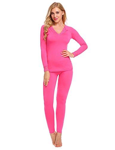 INZOE Damen Thermo Unterwäsche Set (Hemd + Hose) slim fit F- warm, weich und atmungsaktiv -Langarmhemd Hose lang, 7431_Rosenrot, Gr. 40/XL
