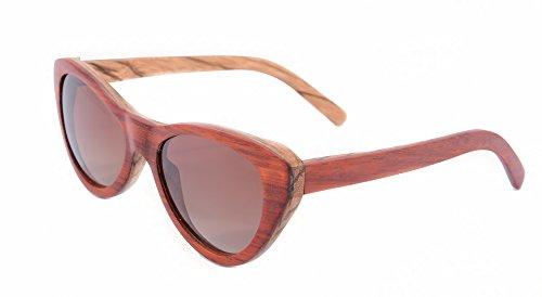 Cat Eye Frame Glasses Women Polished 3layers Wood Sunglasses-TU18 (red Pear/zebra/zebra)