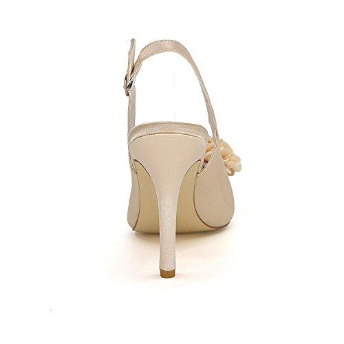 L@YC Frauen High Heeled Schuhe Big Size Hochzeit Schuhe Silk Kitten Custom Hochzeit mit kleinen Farbe Blue