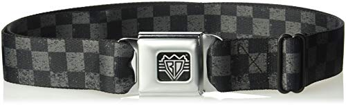 Buckle-Down Unisex-Adult's Seatbelt Belt Checkered Regular, Weathered Black/Gray, 1.5