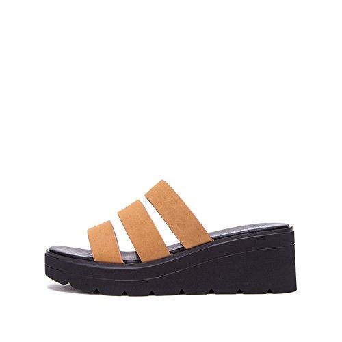 tacco basso Sandali tacco Tacchi casual Pantofole alla Marrone DHG da a estivi 37 con Sandali moda Sandali basso piatti alti donna Sxa1Zw