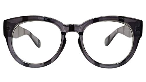 Classic Round Horn Rimmed Eye Glasses Clear Lens Oval Non Prescription Frame (Gray Zebra 6041, ()