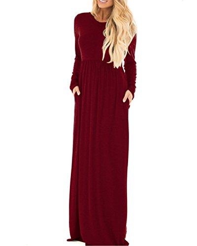 StyleDome Maglietta Donna Vestito Manica Lunga Collo V Abito Moda Casual Autunno Maglia Elegante Loose Tops Bordeaux 803365
