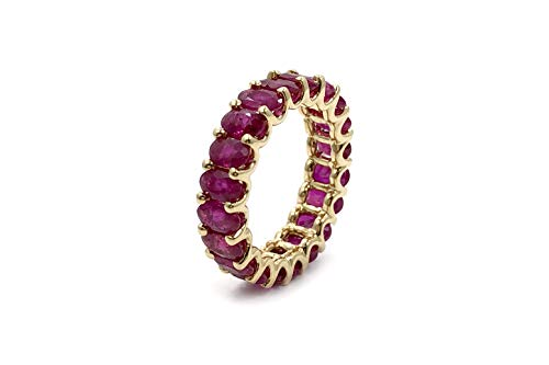 Albert Hern 5.7 ct Natural Ruby Eternity Ring 14kt Yellow Gold Band for Women Size 6 | Ideal for Weddings, Engagement, Bridal Set, Valentine's Day, Anniversary & Birthday Gift
