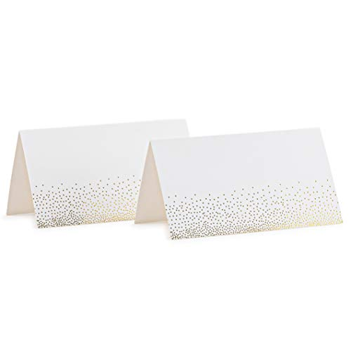 (Place Cards White With Gold Foil Hot Stamped Small Hearts Pack Of 100 Tent Cards 2
