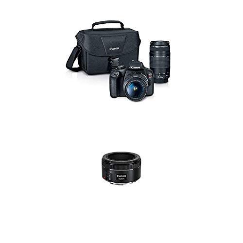 EOS Rebel T7 EF18-55mm + EF 75-300mm Double Zoom KIT with  EF 50mm f/1.8 STM Lens