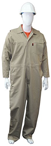 Chicago Protective Apparel FR Cotton Coverall, 5X-Large, Khaki