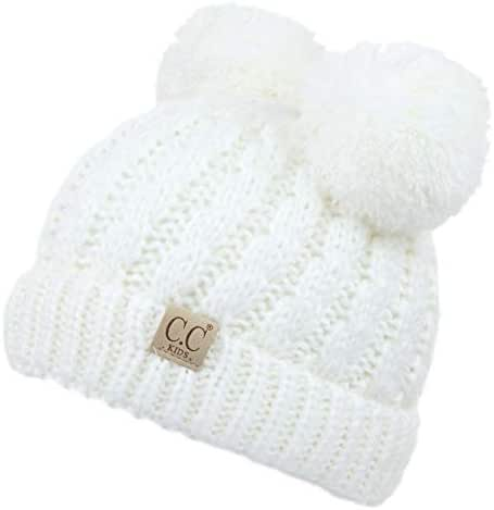 C.C Exclusives Children Kid Double Pompom Knitted Beanie for Kids Ages 2-7 (KID-23)(KID-24)