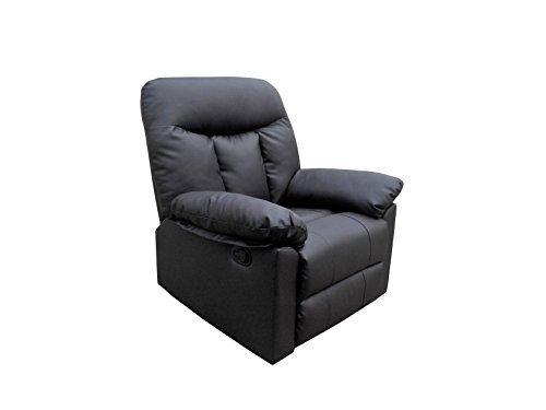 Real Leather Reclining Lounge Armchair for Home Cinema & Gaming | Choice of 3 Styles in Black or Brown (Nero, Black)