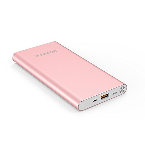 Portable Charger 10000mAh Lightning & Micro-USB Input Power Bank External Battery Pack BENANNA S1 for iPhone X 8 7 6 5 Plus iPad Android Cell Phone Samsung Galaxy Note LG Gopro - Rose Gold