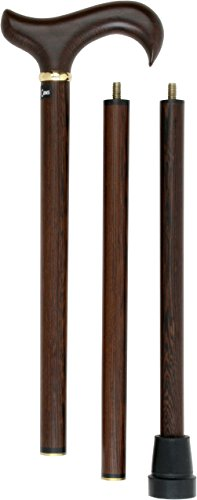 - Wenge 3 Piece Folding Derby Walking Cane With Wenge Wood Shaft and Brass Collar